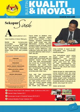 Buletin Kualiti dan Inovasi JKNK Bil. 1 Tahun 2013