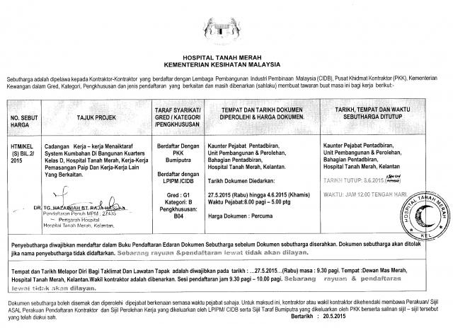 Iklan Hospital Tanah Merah - HTM-KEL-S-BIL-2-2015